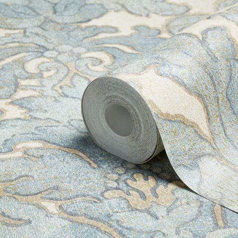 Bohemian Burlesque Brown, Latte & Soft Blue Large Damask Brown, Latte & Soft Blue Metallic Wallpaper