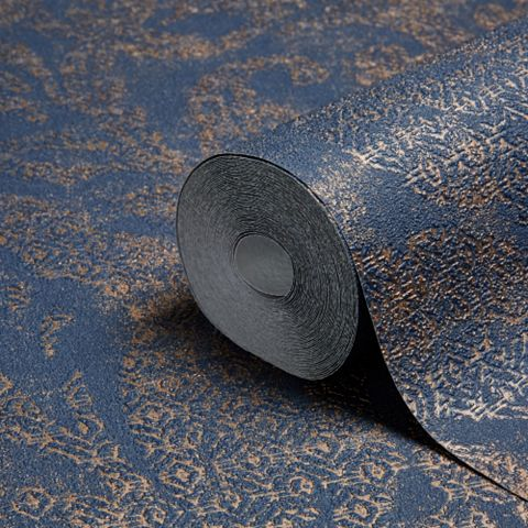 Bohemian Burlesque Blue & Bronze Large Damask Blue & Bronze Metallic Wallpaper