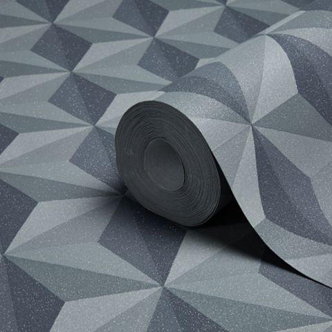 Life Charcoal & Grey Geometric Glitter Effect Wallpaper