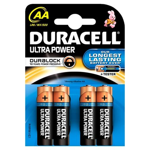 Duracell AA Batteries 1.5V, Pack of 4