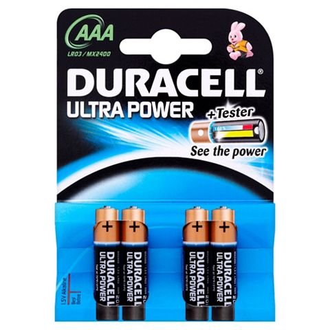 Duracell Ultra AAA Alkaline Battery, Pack of 4