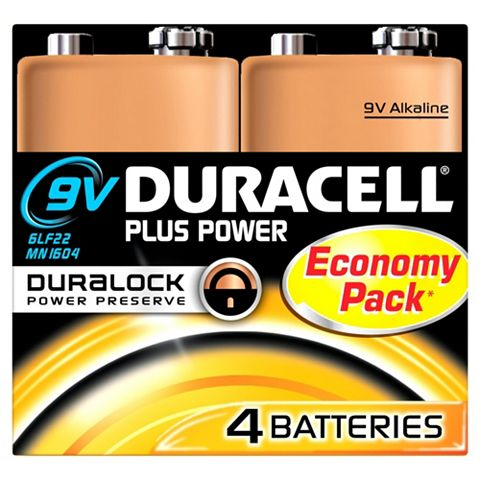 Duracell 9V Batteries 9V, Pack of 4