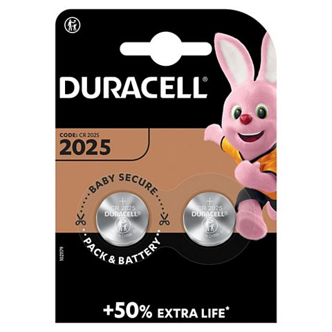 Duracell CR2025 Batteries 3V, Pack of 2