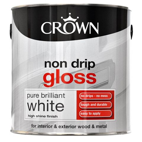Crown Non Drip Interior & Exterior Pure Brilliant White Gloss Paint 2.5L