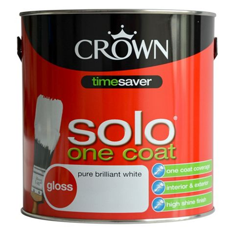 Crown Solo® Interior & Exterior Pure Brilliant White Gloss Paint 2.5L