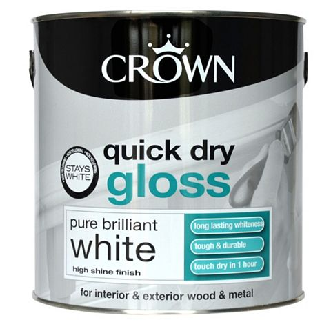 Crown Quick Dry Interior & Exterior Pure Brilliant White Gloss Paint 2.5L