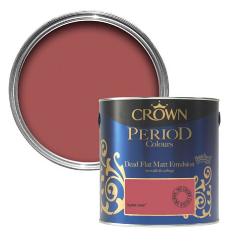 Crown Flat Matt Emulsion Paint Tudor Rose, 2.5L Tin