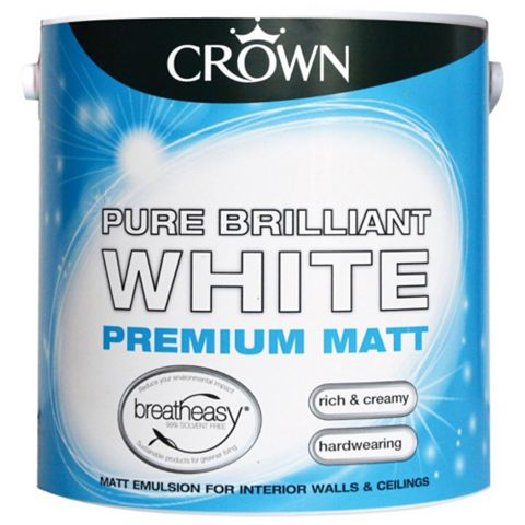 Crown Breatheasy® Brilliant White Matt Emulsion Paint 2.5L