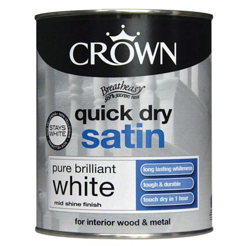 Crown Breatheasy® Interior Pure Brilliant White Satin Paint 750ml