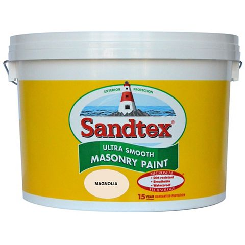 Sandtex Magnolia Cream Smooth Masonry Paint 10L