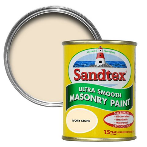 Sandtex Ivory Stone Smooth Masonry Paint 150ml Tester Pot