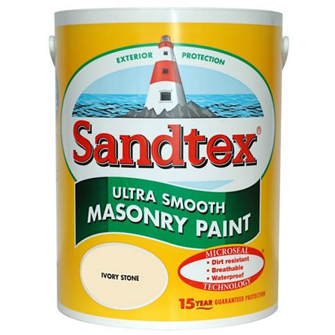 Sandtex Ivory Stone Smooth Masonry Paint 5L