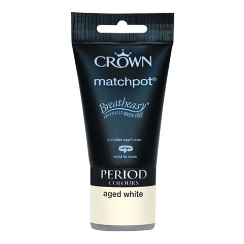 Crown Emulsion Paint Aged White, 40ml Tester Pot