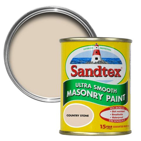 Sandtex Country Stone Beige Smooth Masonry Paint 150ml Tester Pot