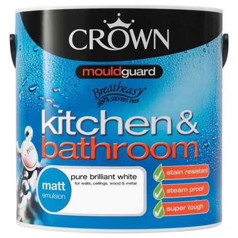 Crown Kitchen & Bathroom Pure Brilliant White Matt Emulsion Paint 2.5L