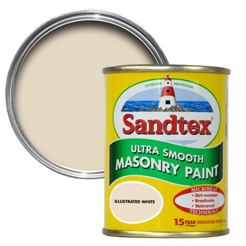Sandtex Illus White Smooth Masonry Paint 150ml Tester Pot