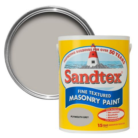 Sandtex Plymouth Grey Textured Masonry Paint 5L