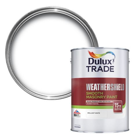 Dulux Trade Weathershield Brilliant White Smooth Masonry Paint 5L