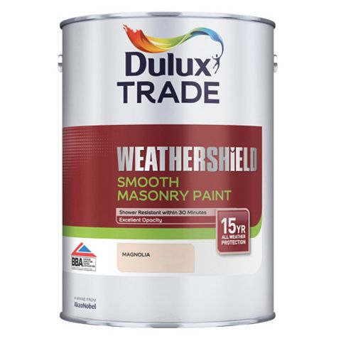 Dulux Trade Weathershield Magnolia Cream Smooth Masonry Paint 5L