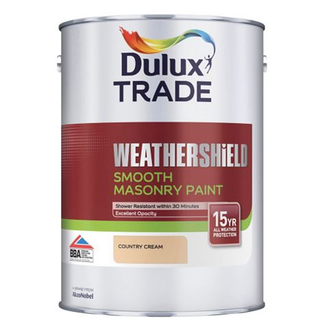 Dulux Trade Weathershield Country Cream Smooth Smooth Masonry Paint 5L Can