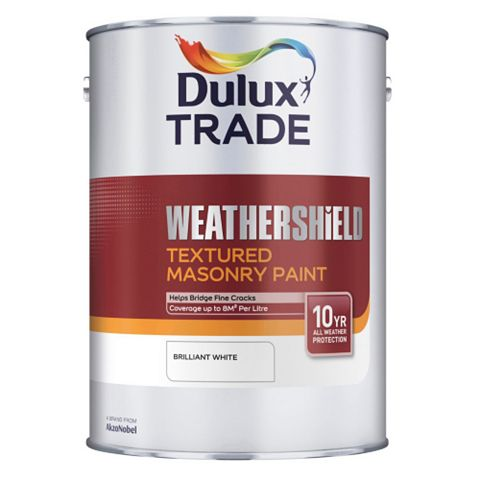 Dulux Trade Weathershield Brilliant White Textured Masonry Paint 5L
