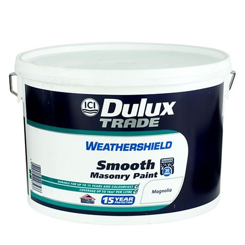 Dulux Trade Weathershield Magnolia Cream Smooth Masonry Paint 10L