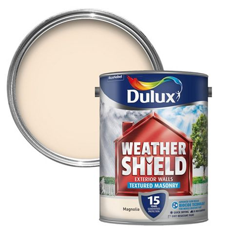 Dulux Weathershield Magnolia Textured Textured Masonry Paint 5L Can
