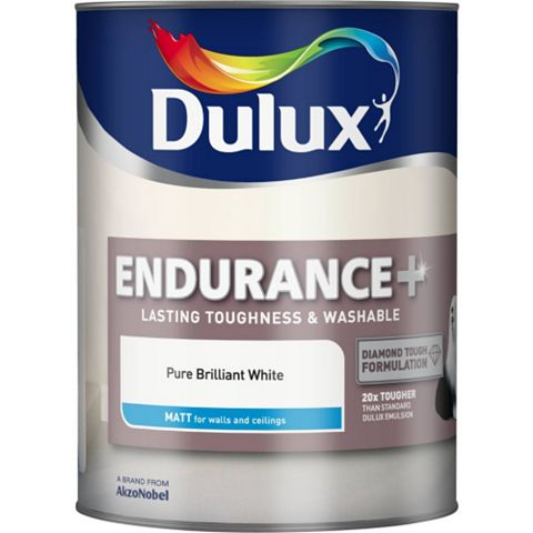 Dulux Endurance Pure Brilliant White Matt Emulsion Paint 5L