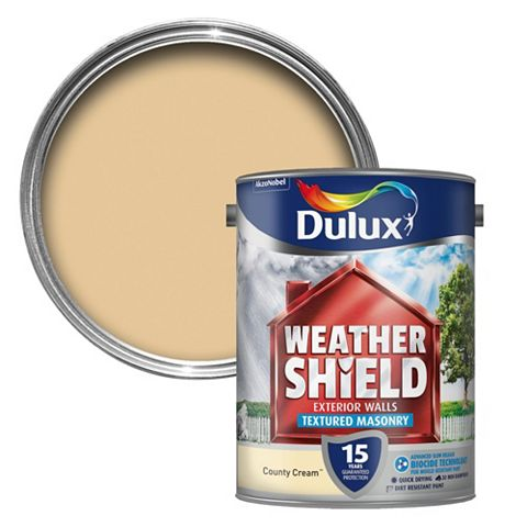 Dulux Weathershield Country Cream Textured Textured Masonry Paint 5L Can