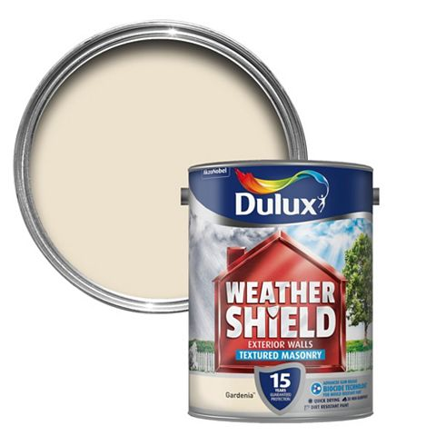 Dulux Weathershield Gardenia Textured Smooth Masonry Paint 5l Can Tradepoint