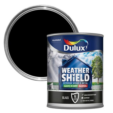 Dulux Weathershield Exterior Black Gloss Wood & Metal Paint 0.75L
