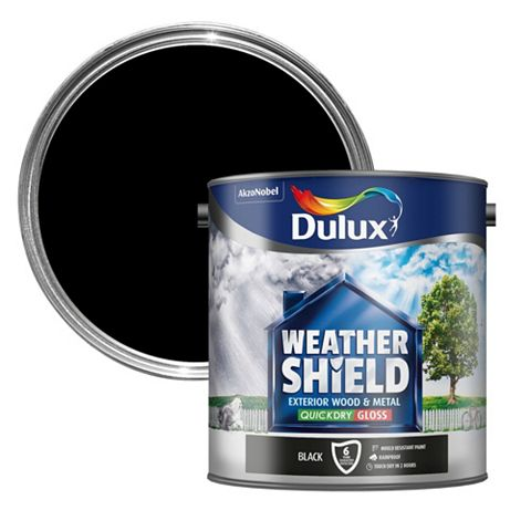 Dulux Weathershield Exterior Black Gloss Wood & Metal Paint 2.5L