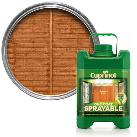Cuprinol One Coat Sprayable Autumn Gold Matt Shed & Fence Treatment 5000ml