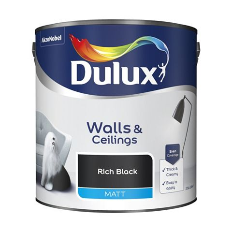 Dulux Rich Black Matt Emulsion Paint 2.5L