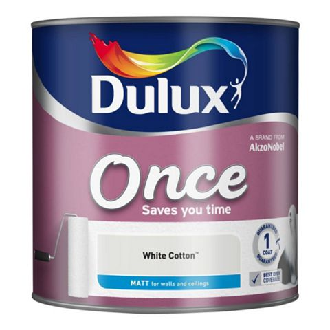 Dulux Once White Cotton Matt Emulsion Paint 2.5L