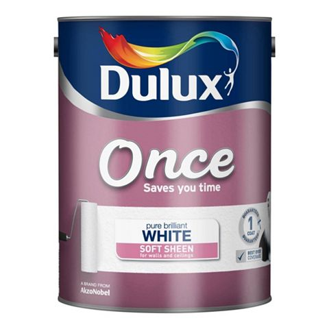 Dulux Once Pure Brilliant White Soft Sheen Emulsion Paint 5L