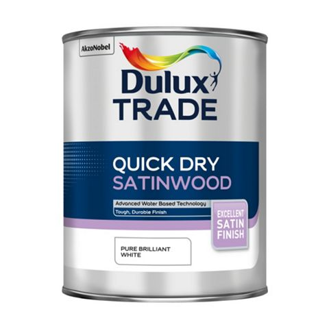 Dulux Trade Interior Pure Brilliant White Satinwood Paint 1L