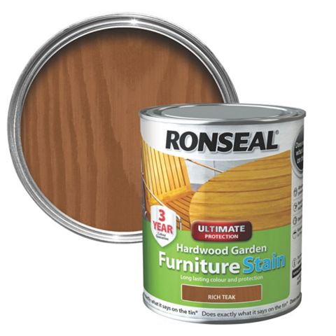 Ronseal Hardwood Rich Teak Hardwood Garden Furniture Stain 750ml
