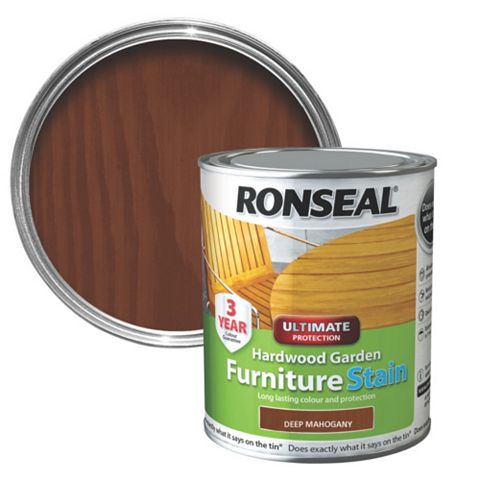 Ronseal Hardwood Deep Mahogany Hardwood Garden Furniture Stain 750ml