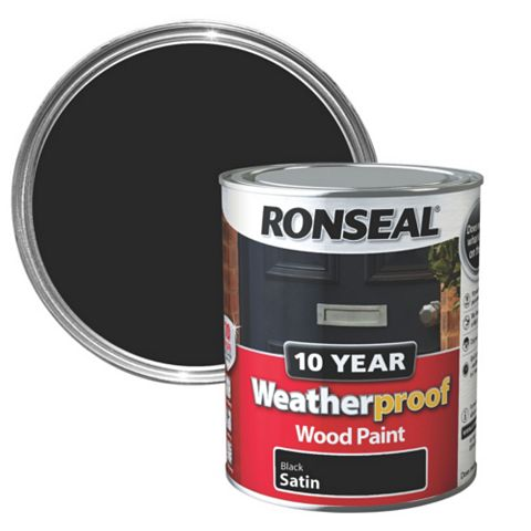 Ronseal Exterior Black Satin Wood Paint 750ml