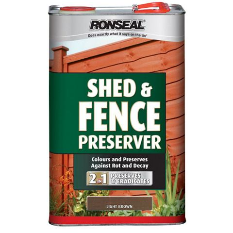 Ronseal Shed & Fence Stain With Preserver Light Brown, 5L