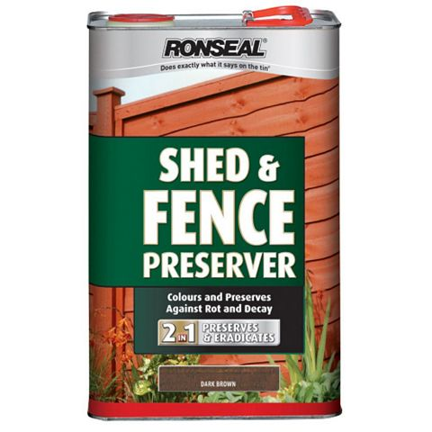 Ronseal Shed & Fence Stain With Preserver Dark Brown, 5L
