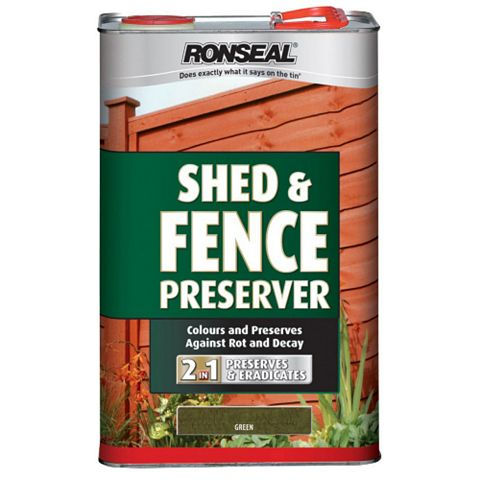 Ronseal Shed & Fence Stain With Preserver Green, 5L