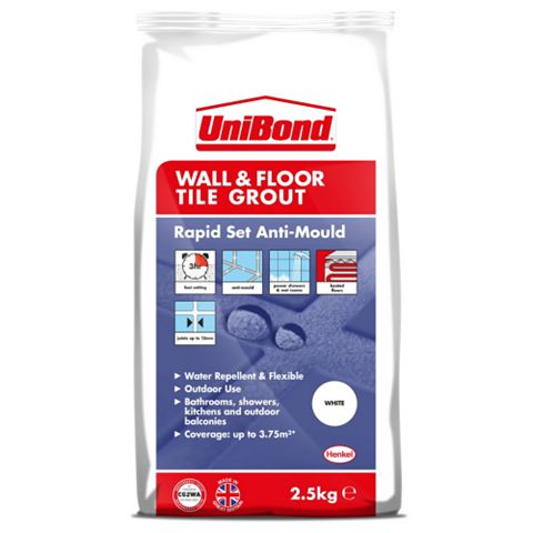 Unibond Rapid Set Flexible White Wall & Floor Tile Grout (W)2.5kg