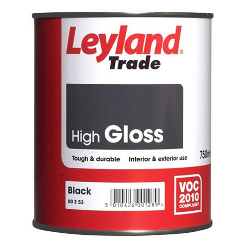 Leyland Trade Interior & Exterior Black Gloss Paint 750ml Tin