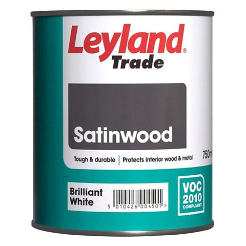 Leyland Trade Interior Brilliant White Satinwood Paint 750ml Tin