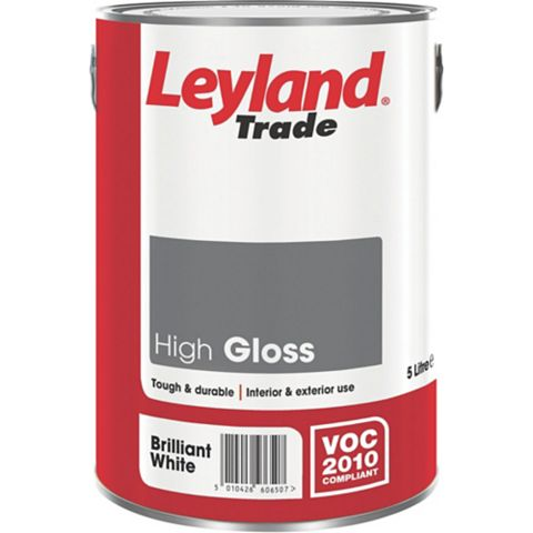 Leyland Trade Interior & Exterior Brilliant White Gloss Paint 5L