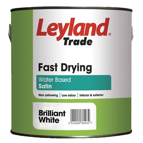 Leyland Trade Interior & Exterior White Satin Wood & Metal Paint 2.5L
