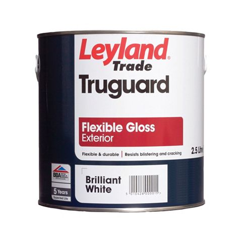 Leyland Trade Truguard External White Gloss Paint 2.5L