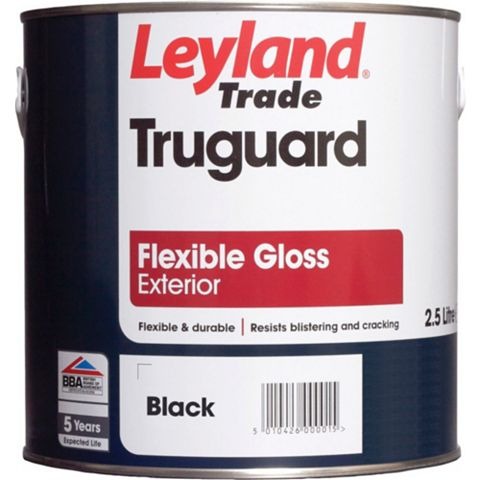 Leyland Trade Truguard Masonry External Black Gloss Paint 2.5L